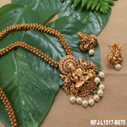 CZ Stones Peacock, Flowers & Thilakam Design With Pearl Drop Gold Plated Finish Haram Set Buy Online