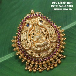 CZ & Ruby Stones Leaf Design Gold Plated Finish Saree Pin Buy Online