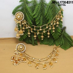 1 Gram Gold Dip Ruby & Emerald Stones Lakshmi & Leaves Design With Drops Headset Buy Online