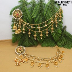 1 Gram Gold Dip Ruby & Emerald Stones Lakshmi & Flowers Design With Drops Headset Buy Online