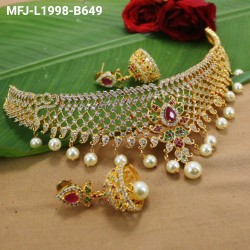 CZ & Honey Colour Stones Flowers & Leaves Design Gold Plated Finish 2 Set Saree Pin Buy Online