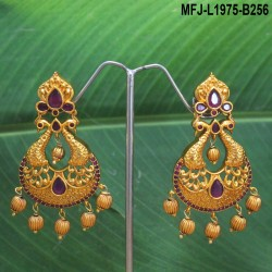 Kempu & Multicolour Stones With Pearls Round Shaped Flower Design Earrings For Bharatanatyam Dance And Temple Buy Online