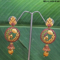 Kempu & Multicolour Stones With Pearls Flower & Moon Design 3 Step Earrings For Bharatanatyam Dance And Temple Buy Online