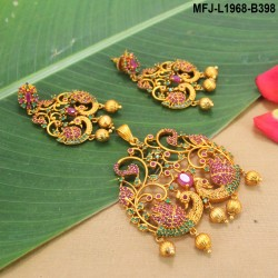 Green & Golden Colour Beads With Golden Colour Polished Kempu Stones Balls Chain Set Buy Online