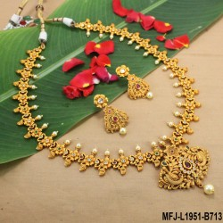 Red Beads With Golden Colour Polished Mango Design Pendants Chain Set Buy Online