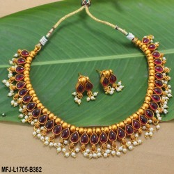 1 Gram Gold Dip Ruby & Emerald Stones Lakshmi & Mango Design With Pearls Drops Haram Set Buy Online