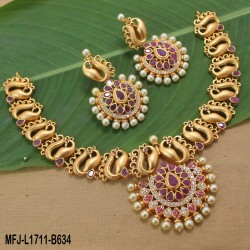 Ruby & Emerald Stones Peacock, Flowers & Elephant Design With Drops Mat Finish Haram Set Buy Online