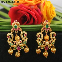 Ruby Stones Flowers, Leaves & Drop Design Gold Plated Finish Jumki Buy Online