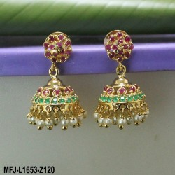 Ruby & Emerald Stones Flower Design Gold Plated Finish Nose Pin Buy Online