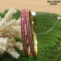 CZ & Ruby Stones Flowers & Leaves Design With Pearls Drops Gold Plated Finish Nose Pin Buy Online