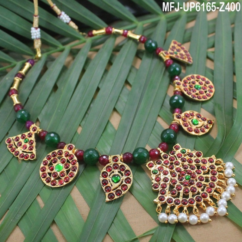6e2199dd9 CZ   Ruby Stones Peacock Design With Pearls Drops Gold Plated Finish Nose  Pin Buy Online