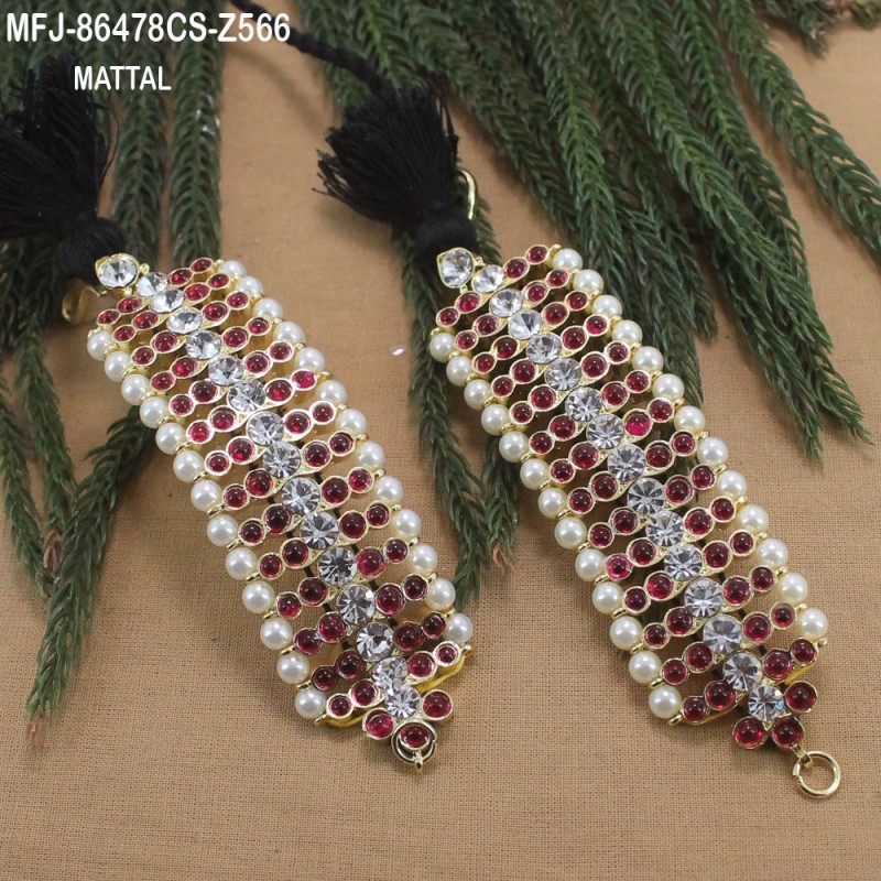 5cfeff282 CZ   Ruby Stones Peacock Design With Pearls Drops Gold Plated Finish Choker  Necklace Set Buy Online