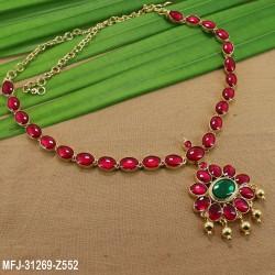 High Quality Kempu Stones Single Line Design Gold Plated Finish Necklace Set Buy Online