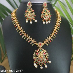 CZ & Honey Colour Stones Designer With Pearls Gold Plated & Black Metal Finish Earrings Buy Online