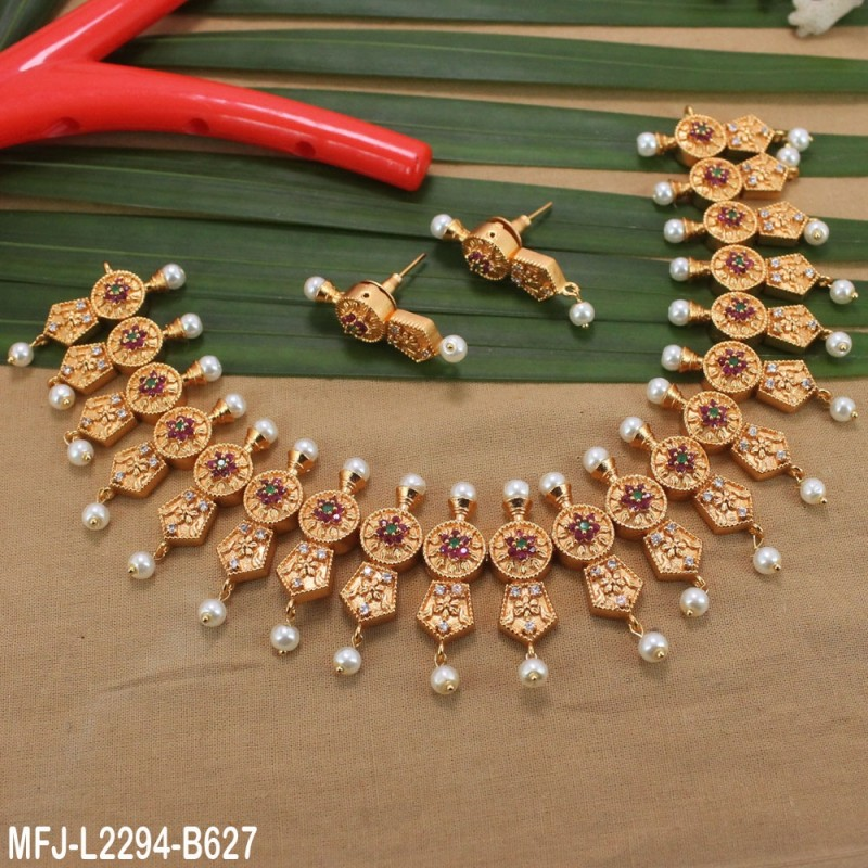 CZ, Ruby & Emerald Stones Peacock Design With Pearl Drop Gold Plated Finish Jumki Buy Online