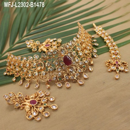 Ruby Stones Designer With Pearls Drops Gold Plated Finish Jumki Buy Online