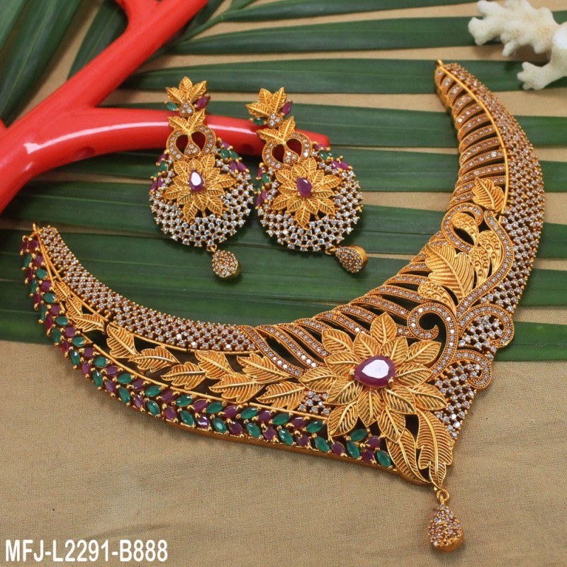 CZ & Ruby Stones Flowers & Leaves Design With Pearl Drop Gold Plated Finish Jumki Buy Online