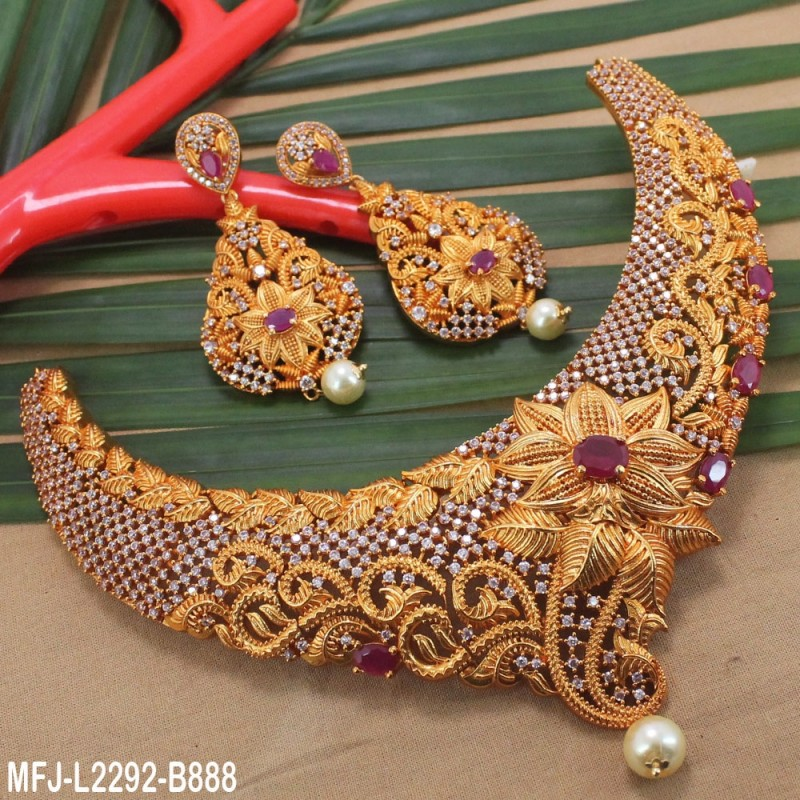 CZ & Ruby Stones Leaves Design With Pearl Drop Gold Plated Finish Jumki Buy Online