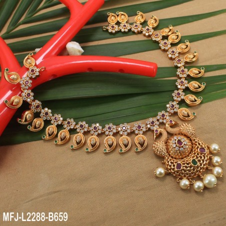 CZ & Emerald Stones Leaves Design With Pearl Drop Gold Plated Finish Jumki Buy Online