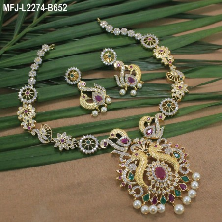 CZ Stones With Two Lines Pearls Flowers Design Gold Plated Finish Mattel Buy Online