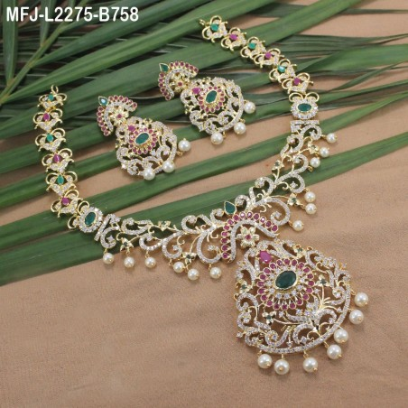 CZ Stones With Two Lines Pearls Flowers Design Mat Finish Mattel Buy Online