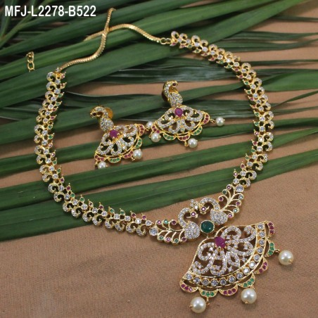 1 Gram Gold Dip Ruby & Emerald Stones Flowers & Mango Design With Drops Headset Buy Online