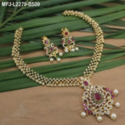 1 Gram Gold Dip Ruby & Emerald Stones Flowers & Peacock Design With Drops Headset Buy Online