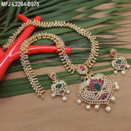 1 Gram Gold Dip Ruby & Emerald Stones Lakshmi, Flowers & Peacock Design With Pearls Hair Pin Buy Online