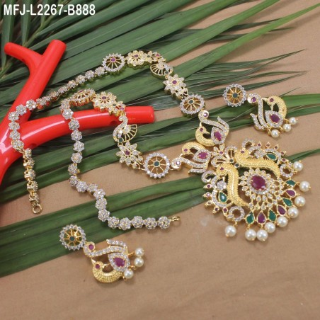 1 Gram Gold Dip Ruby & Emerald Stones Flowers & Leaves Design Bracelet Buy Online