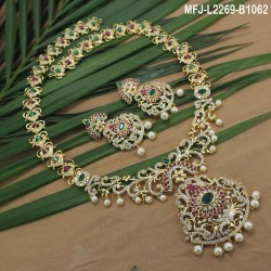 Ruby & Emerald Stones Flowers & Leaves Design With Balls Drops Mat Finish Earrings Buy Online