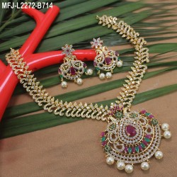 CZ, Ruby & Emerald Stones Peacock & Leaves Design With Balls Drops Mat Finish Jumki Buy Online
