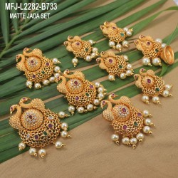 Ruby & Emerald Stones Peacock, Flowers & Leaves Design With Pearls Drops Mat Finish Jumki Buy Online