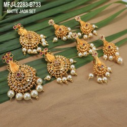 Ruby & Emerald Stones Leaves Design With Pearls Drops Mat Finish Jumki Buy Online