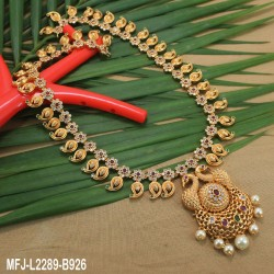 Ruby & Emerald Stones Lakshmi, Peacock & Leaves Design With Balls Drops Mat Finish Pendant Set Buy Online