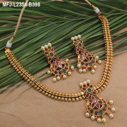 1 Gram Gold Dipped Ruby & Emerald Stones Lakshmi, Flowers & Balls Design With Balls Drops Haram Set Buy Online