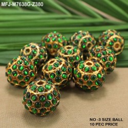 Gold Plated Finish 3 & 5 Lines Balls Design Chain With CZ, Ruby & Emerald Stones Peacock Design Side Pendant Buy Online