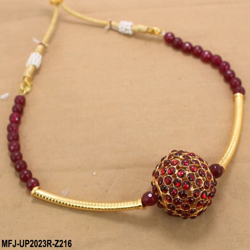 38d1f93562751 Ruby Stones With Pearls Drops Designer Gold Plated Finish Necklace Set Buy  Online
