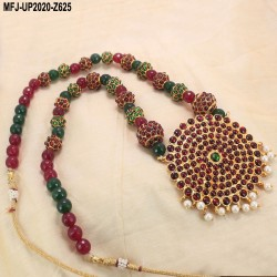 Ruby & Emerald Stones Flowers & Leaves Design With Pearl Drop Gold Plated Finish Necklace Set Buy Online