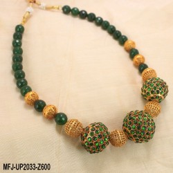 Red & Golden Colour Beads With Golden Colour Polished Kempu Stones Balls Chain Set Buy Online
