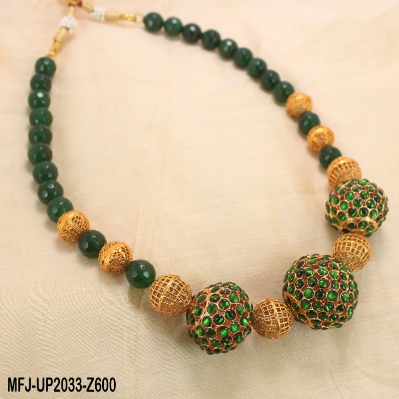 ee220554c Red   Golden Colour Beads With Golden Colour Polished Kempu Stones Balls  Chain Set Buy Online