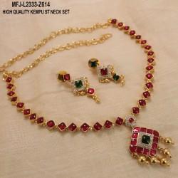 Black & Golden Colour Beads With Golden Colour Polished Kempu Stones Balls Chain Set Buy Online