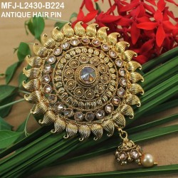 Gold Plated Finish 3 & 5 Lines Balls Design Chain With CZ & Ruby Stones Flowers Design Side Pendants Buy Online