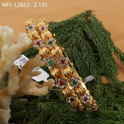 2.6 Size CZ & Ruby Stones Designer Gold Plated Finish Six Set Bangles Buy Online