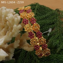 2.4 Size CZ, Ruby & Emerald Stones Designer Gold Plated Finish Two Set Bangles Buy Online