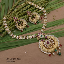 24 Inches Gold Plated Finish Chain With Ruby & Emerald Stones Flowers Design Side Pendant Buy Online