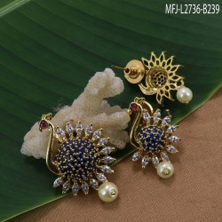 24 Inches Gold Plated Finish Designer Chain With CZ Stones Peacock Design Side Pendant Buy Online