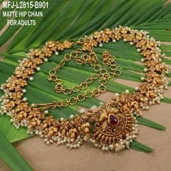 Gold Plated Finish 3 & 5 Lines Balls Design Chain With CZ Stones Peacock Design Side Pendants Buy Online
