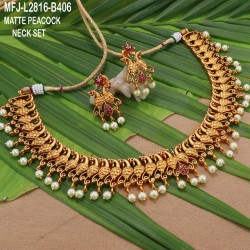 CZ & Ruby Stones Leaves & Thilakam Design With Pearls Drops Gold Plated Finish Jumki Buy Online