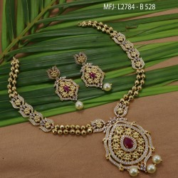 CZ & Ruby Stones Thilakam, Flowers & Leaves Design With Pearls Drops Gold Plated Finish Choker Necklace Set Buy Online