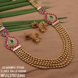 CZ, Ruby & Emerald Stones Peacock, Leaves, Mango & Thilakam Design With Pearl Drop Gold Plated Finish Haram Set Buy Online